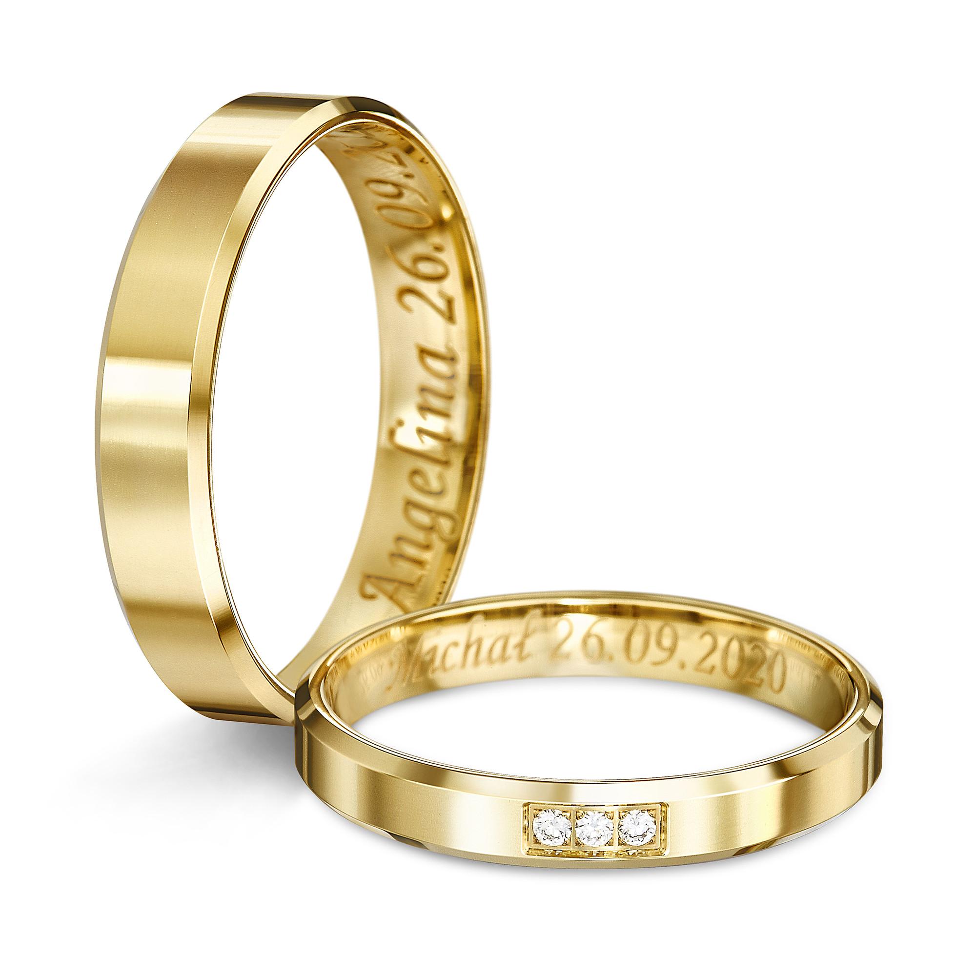 Obrączka ślubna z żółtego złota  K18