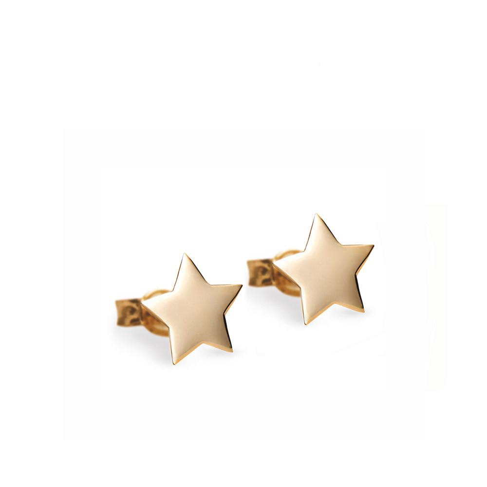 Kolczyki z żółtego złota gwiazdki, zapięcie na sztyft, próba 585