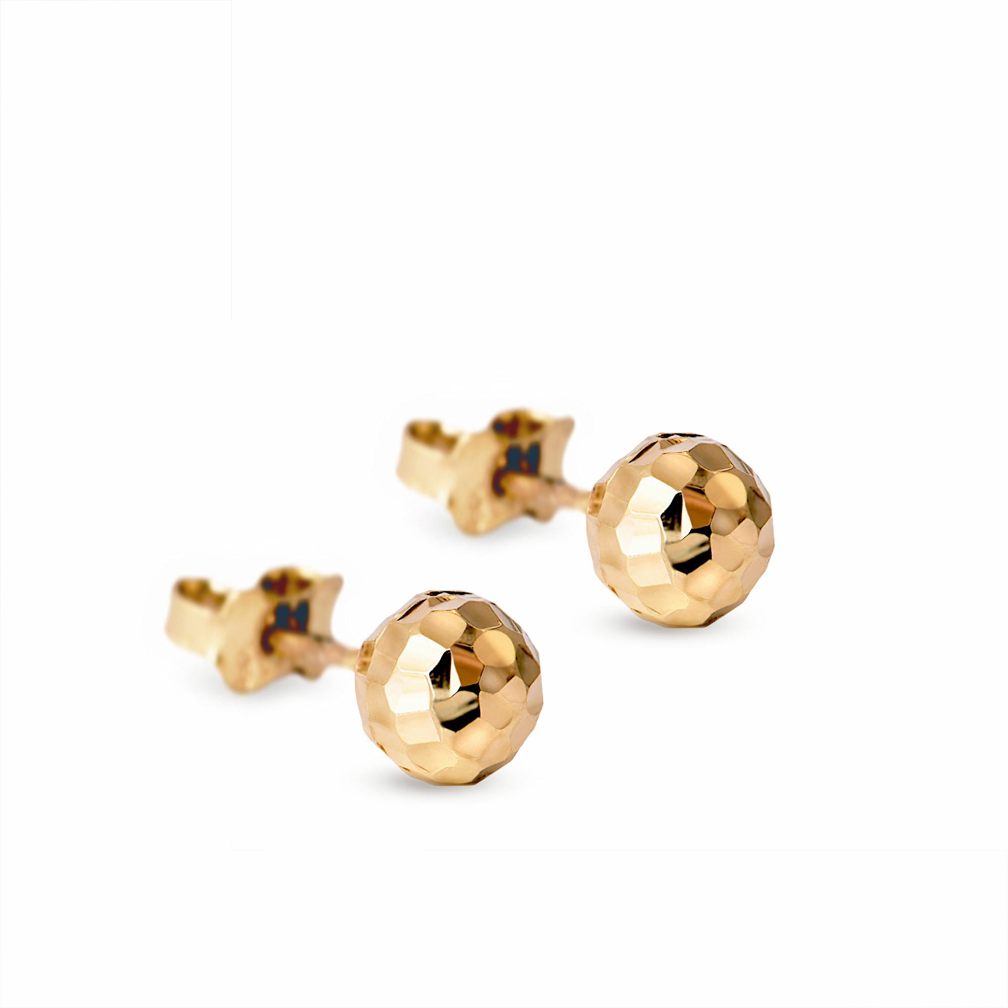 Kolczyki z żółtego złota kuleczki grawerowane, zapięcie na sztyft, próba 585