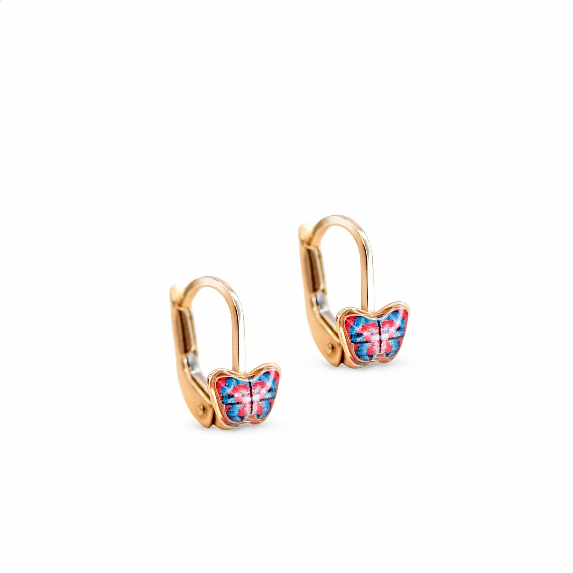 Kolczyki z żółtego złota motylki z różowo - niebieską emalią, zapięcie francuskie, próba 585