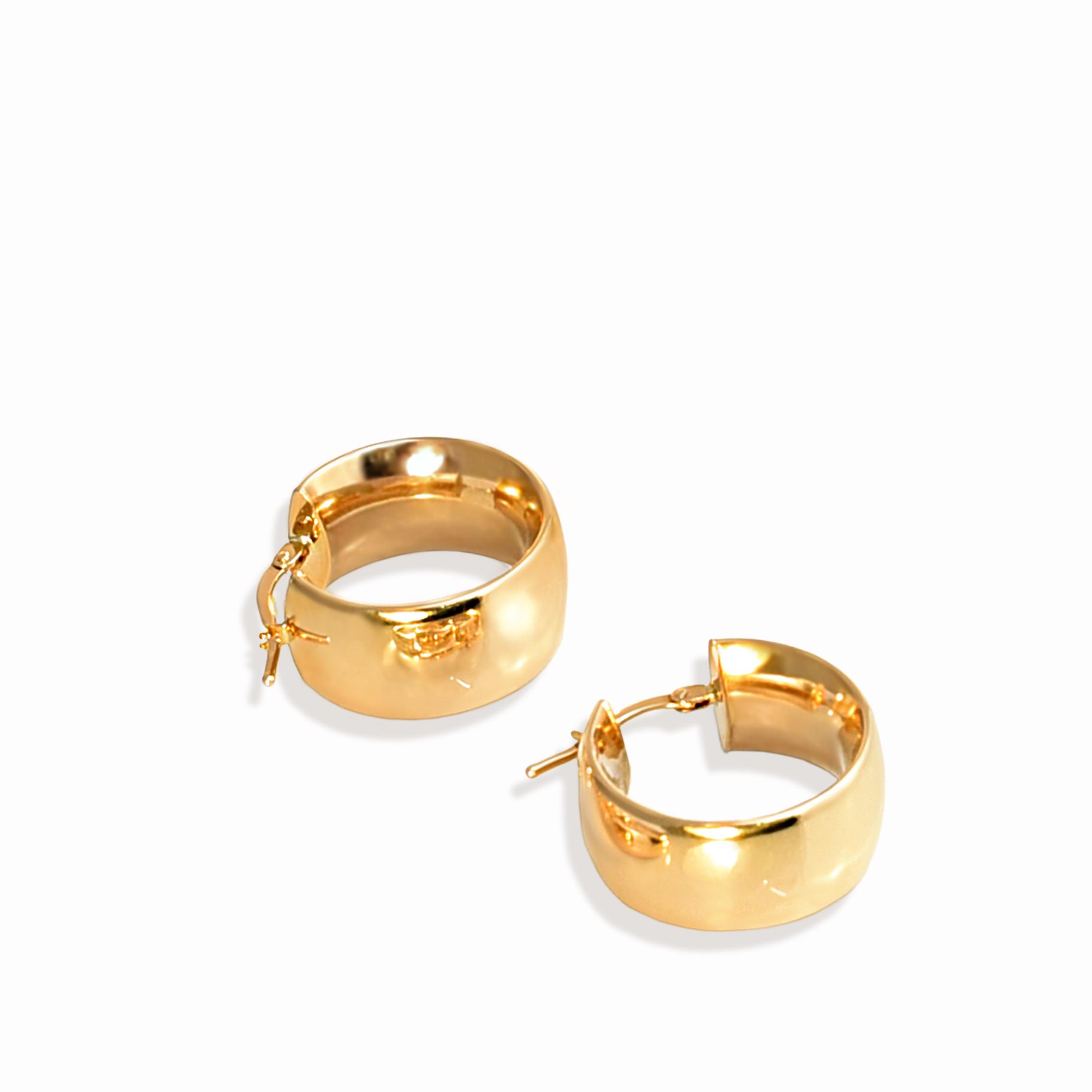 Kolczyki - koła z żółtego złota,  próba 585