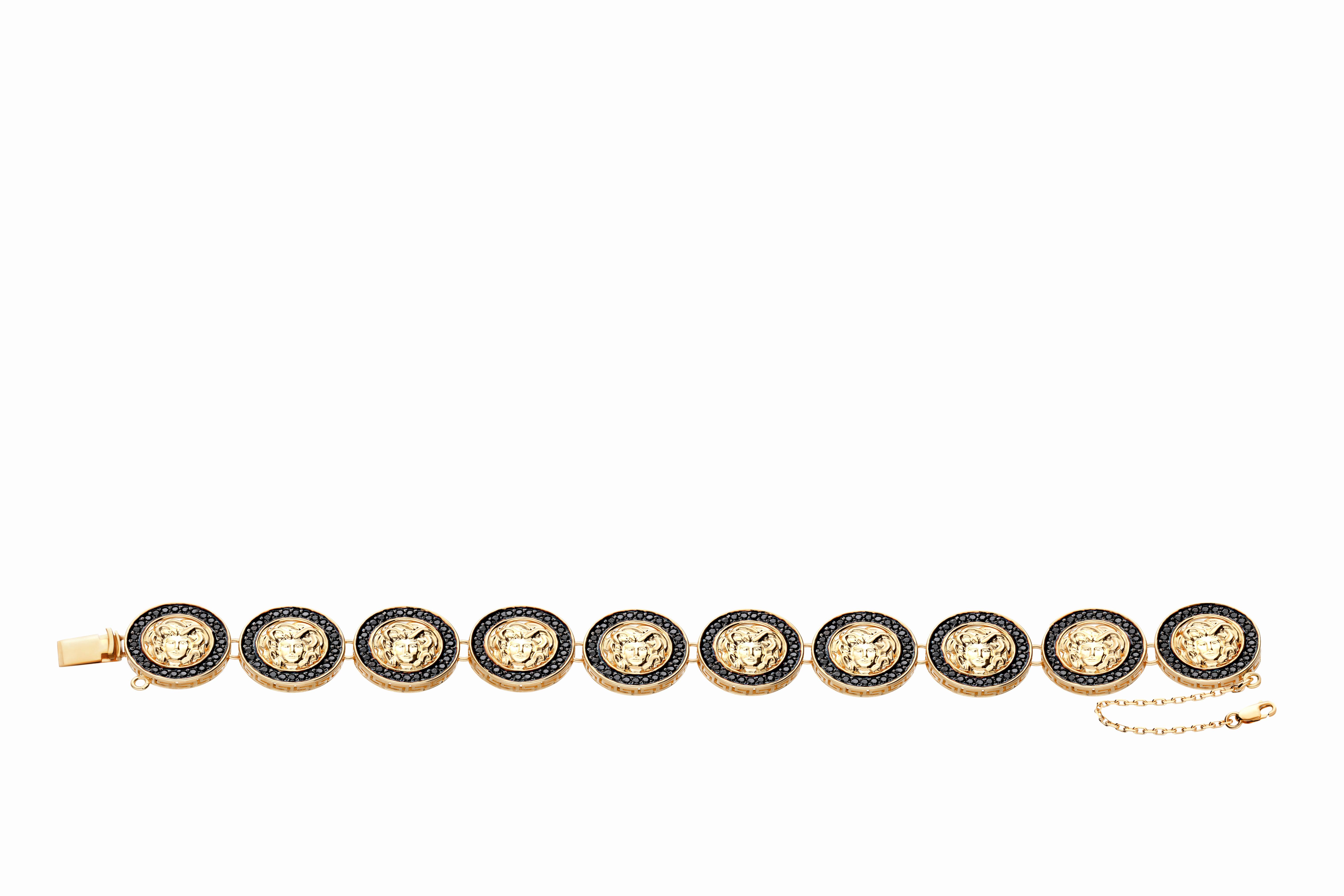 Bransoleta z żółtego złota z czarnymi cyrkoniami, próba 585.