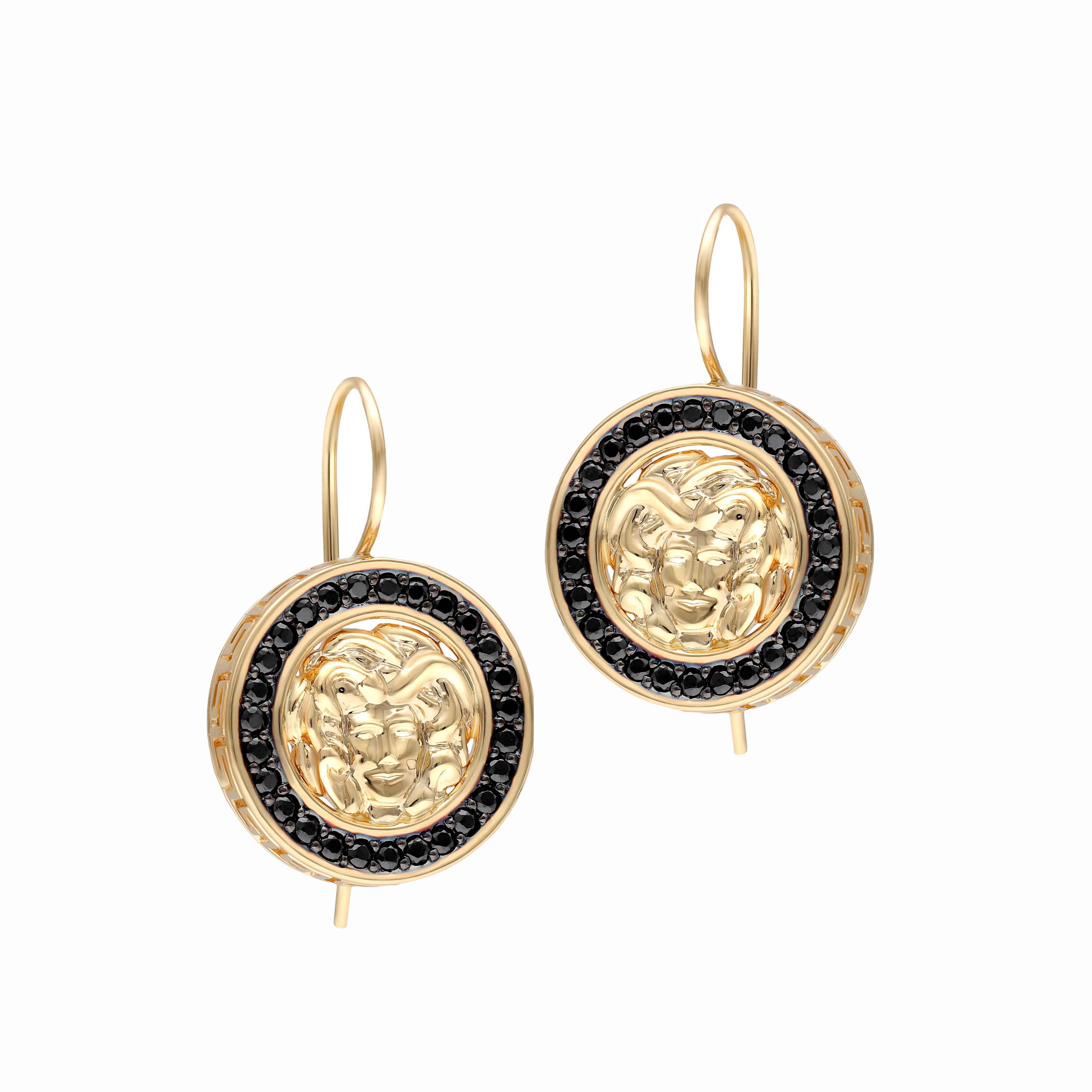 Kolczyki z żółtego złota z czarnymi cyrkoniami, zapięcie bigle, próba 585.