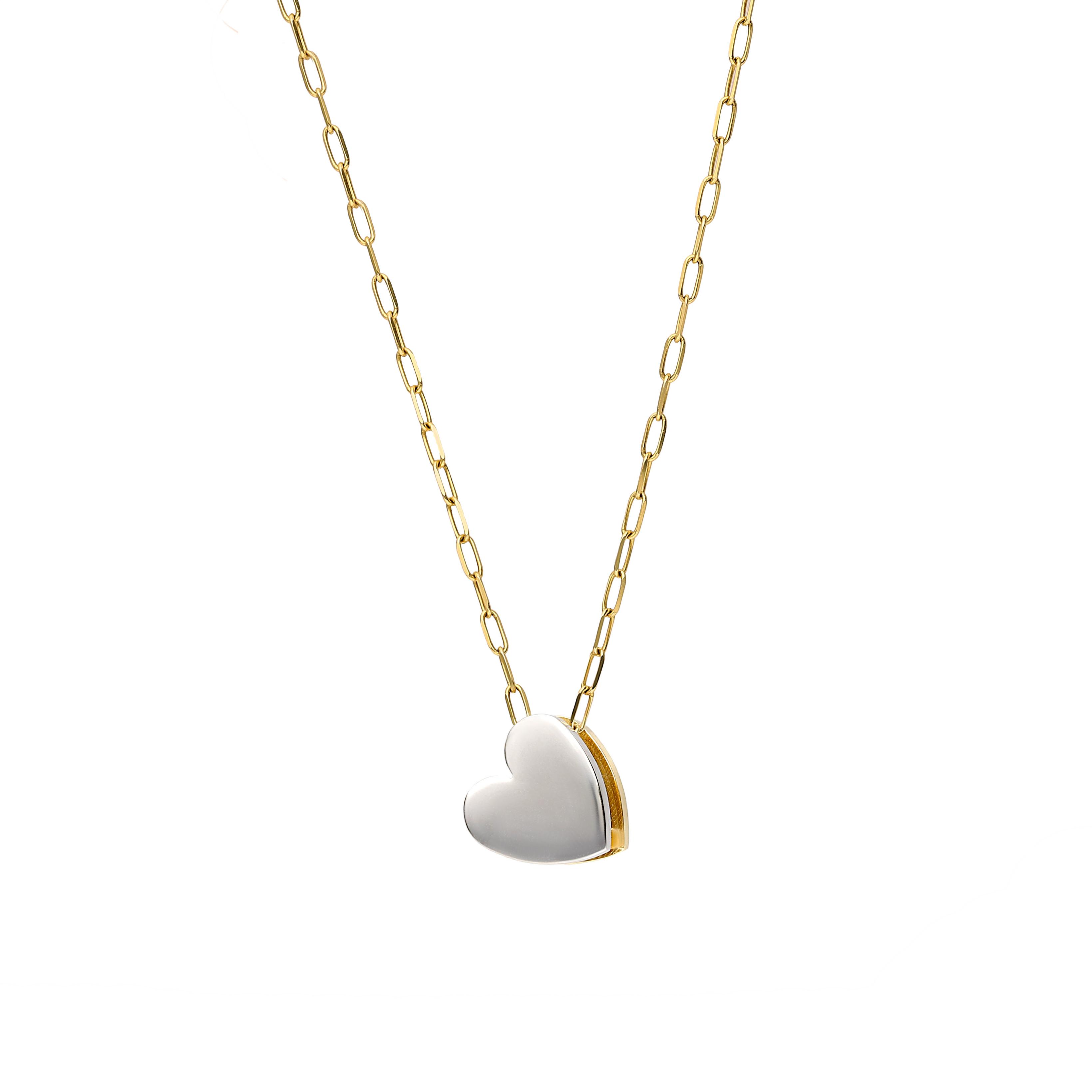 Zawieszka złota serce, żółte i białe złoto, dwustronne, próba 585