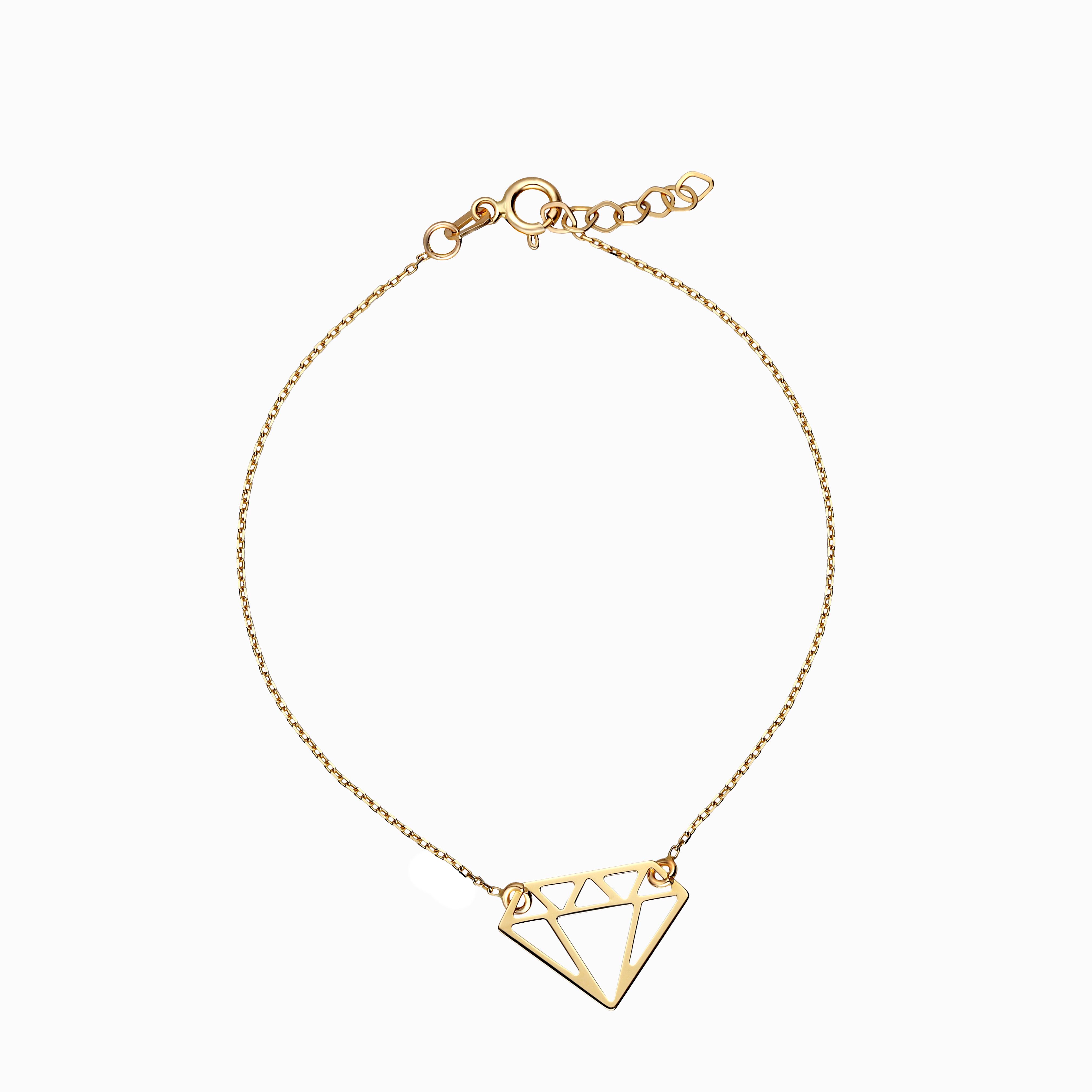 Bransoleta z żółtego złota, celebrytka z motywem diamentu, próba 585