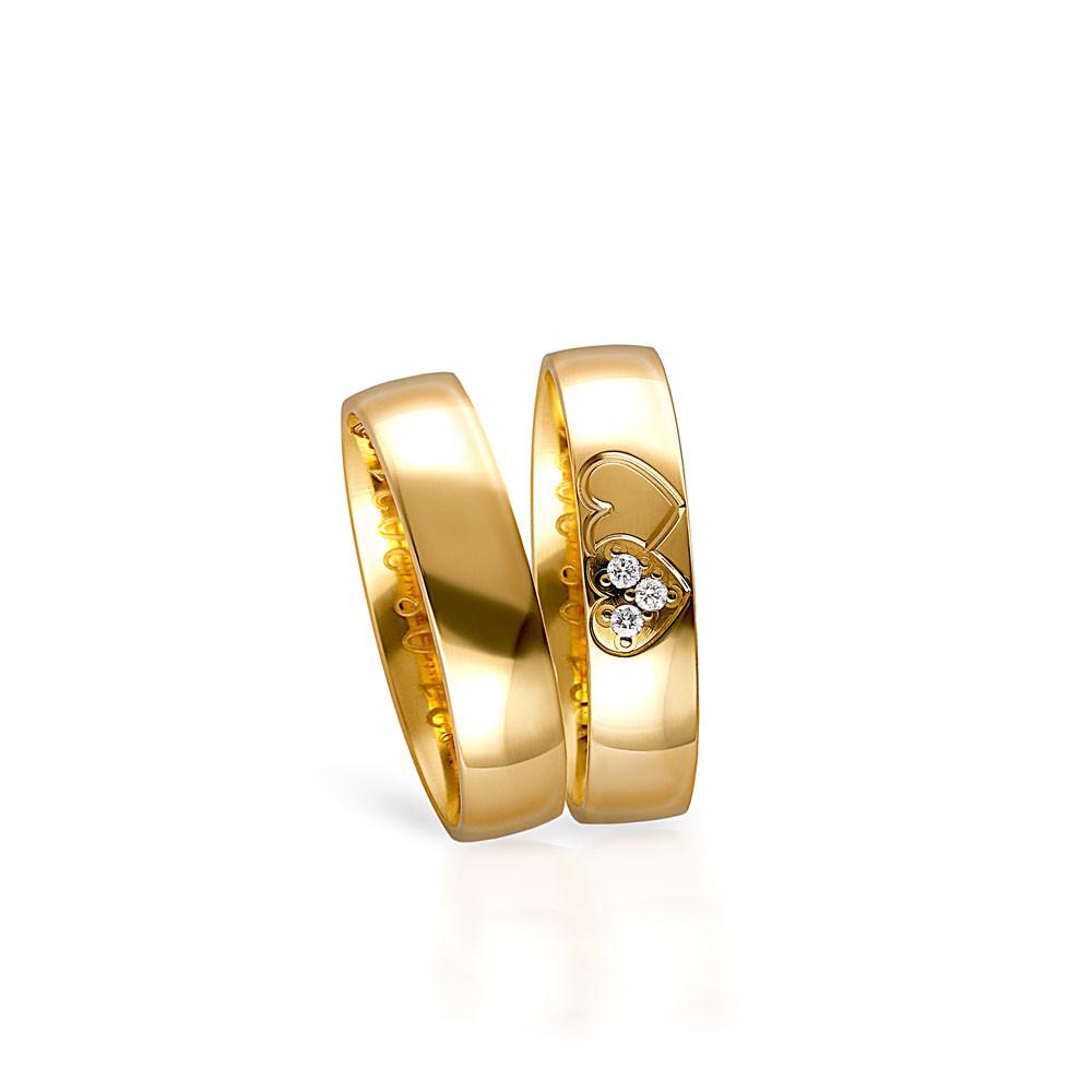 Obrączka ślubna z żółtego złota, klasyczna, B133
