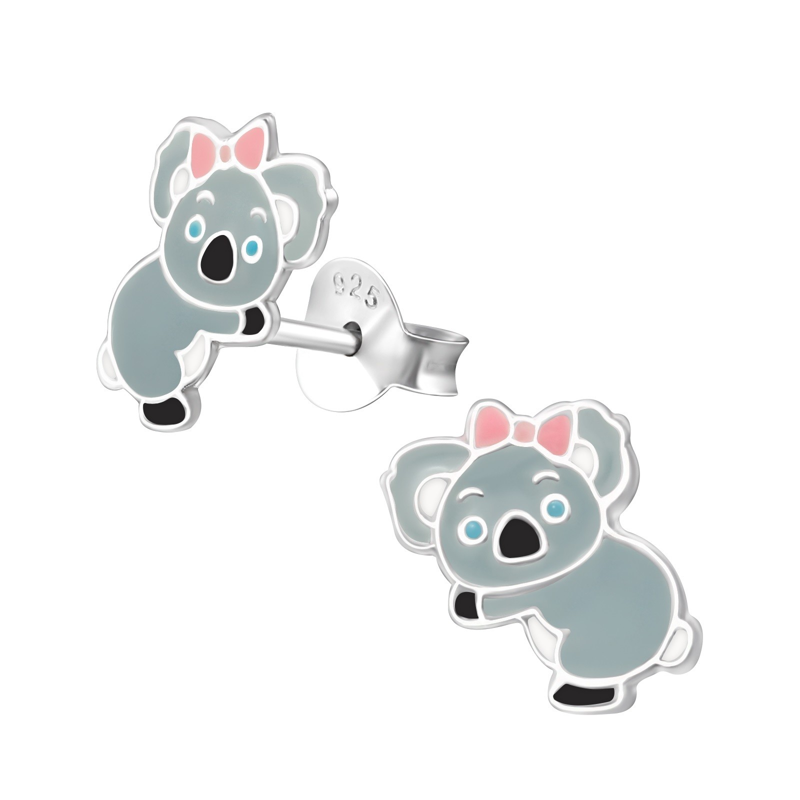Kolczyki srebrne koale, zapięcie na sztyft, próba 925