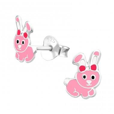Kolczyki srebrne króliczki, zapięcie na sztyft, próba 925
