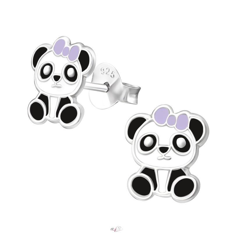 Kolczyki srebrne pandy, zapięcie na sztyft, próba 925