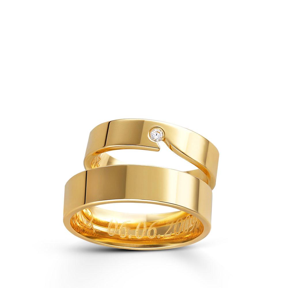 Obrączka ślubna z żółtego złota K56