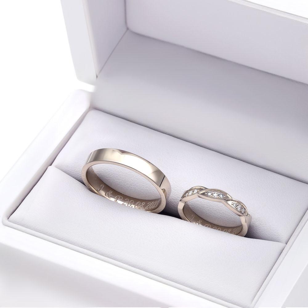 Obrączki ślubne z białego złota nowoczesne K58