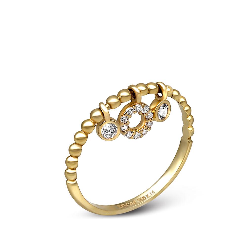 Pierścionek złoty z wiszącymi elementami i cyrkoniami, próba 585