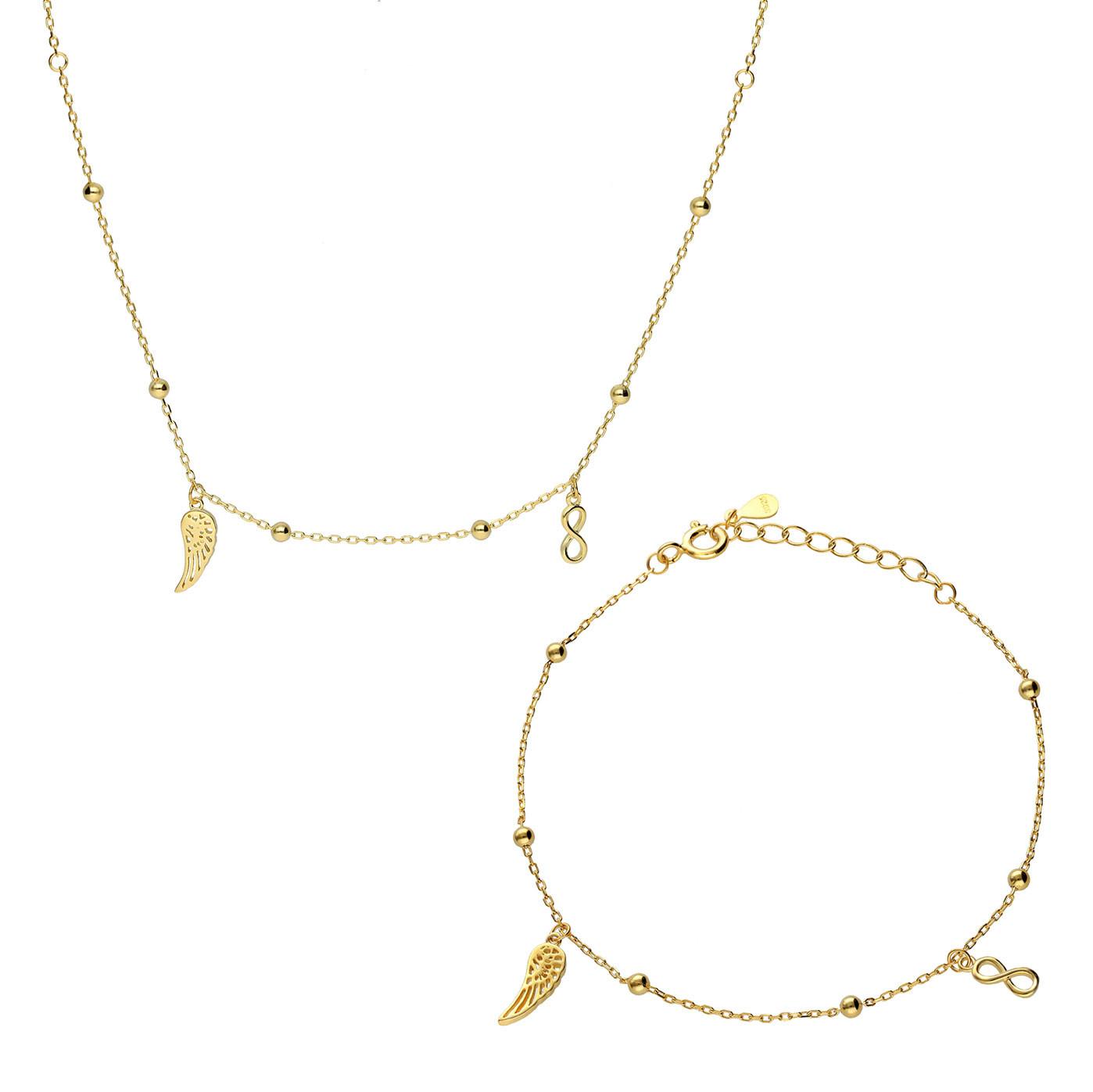 Komplet srebrny pozłacany, naszyjnik i bransoletka ze skrzydełkiem i nieskończonością, próba 925