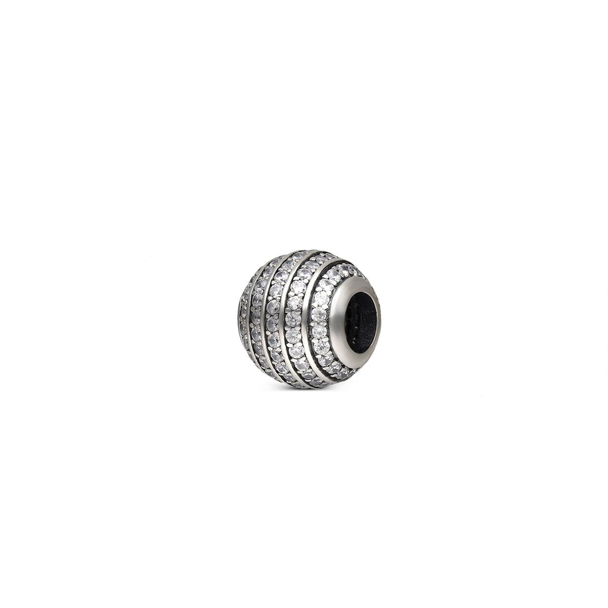 Zawieszka srebrna z cyrkoniami do bransolety modułowej, próba 925