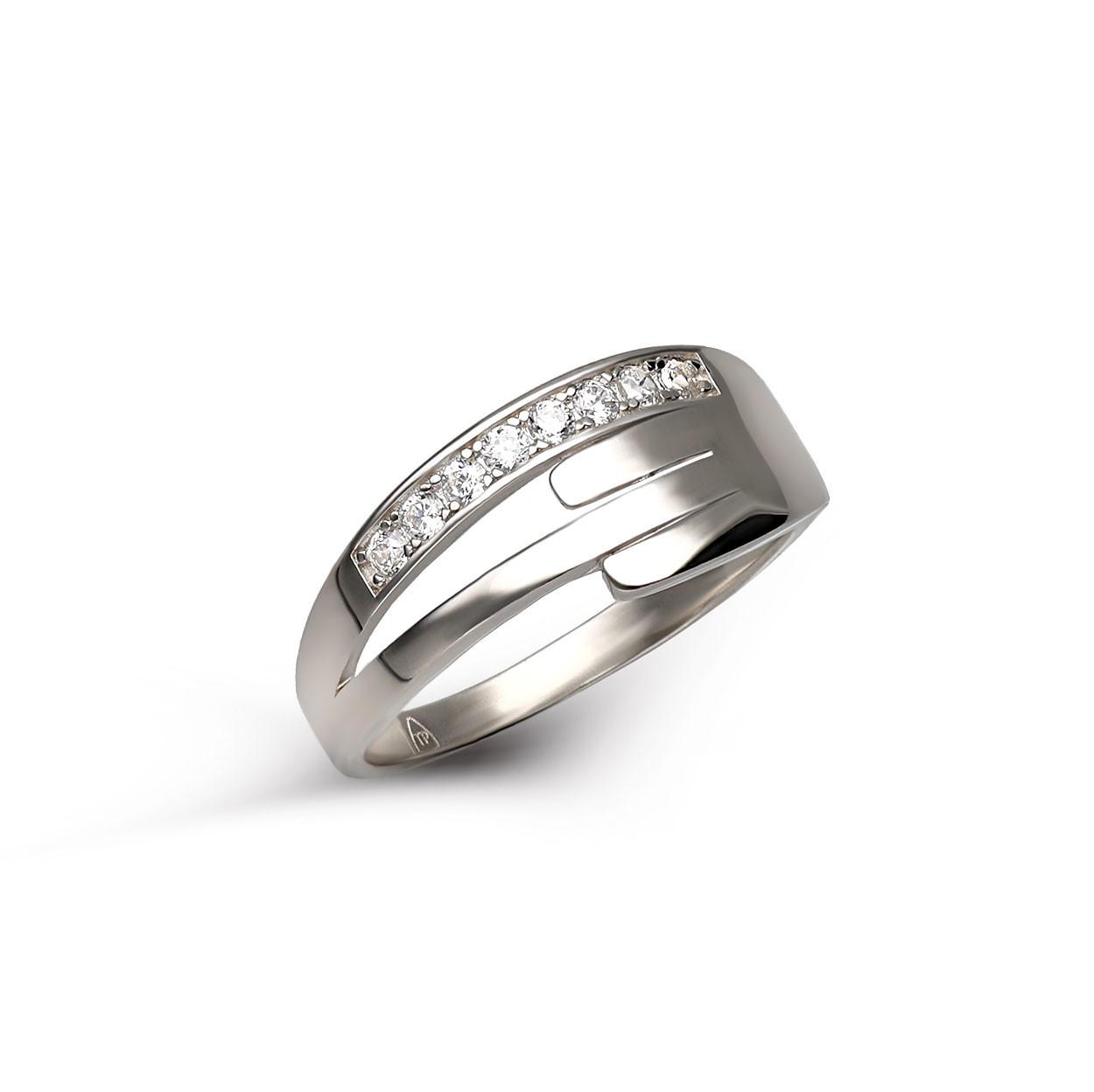 Pierścionek srebrny z cyrkoniami, próba 925