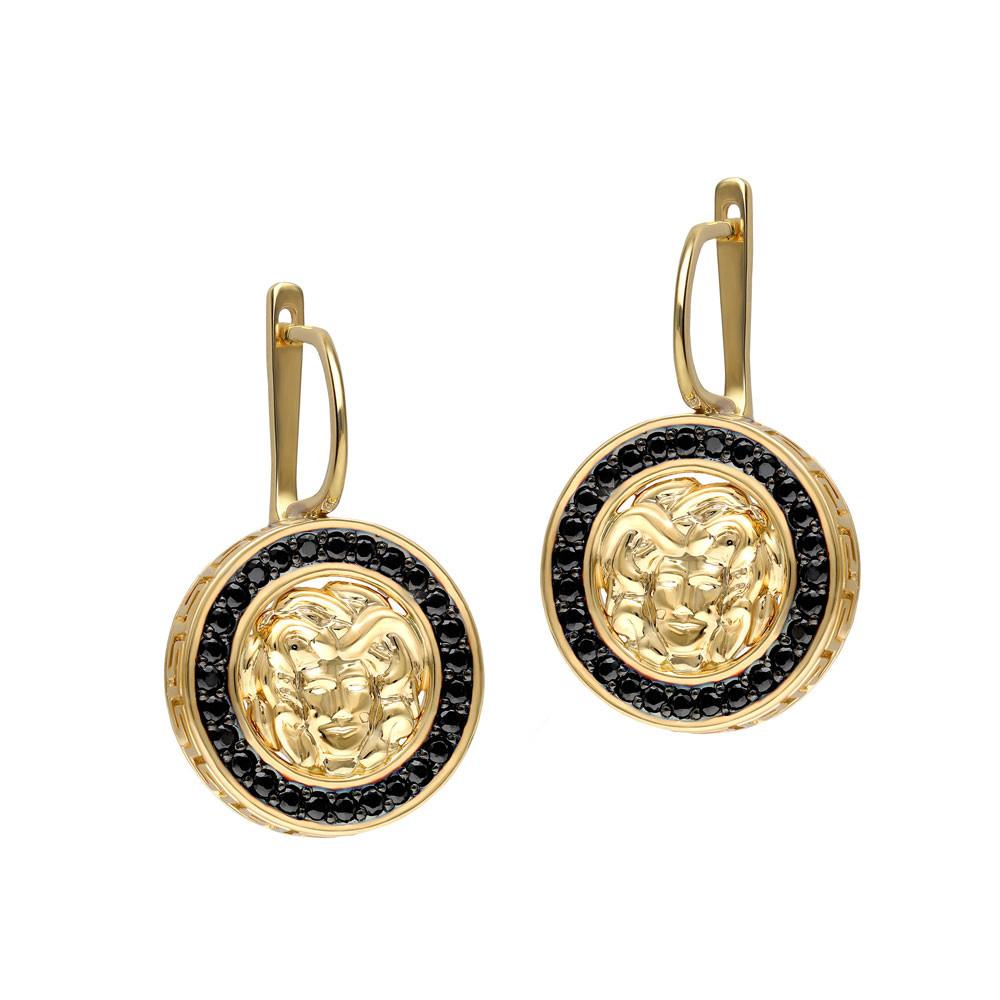 Kolczyki złote z czarnymi cyrkoniami, próba 585