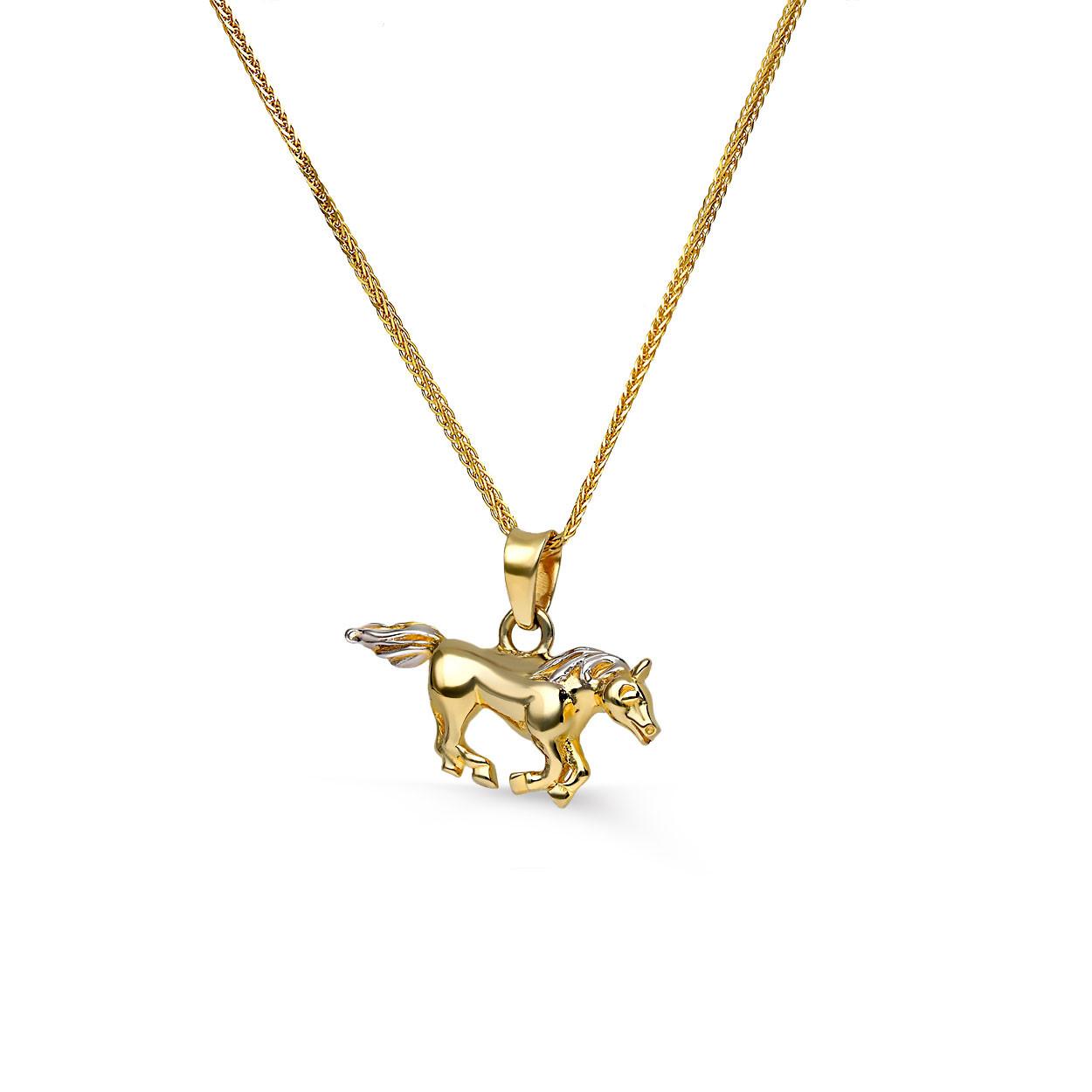 Zawieszka złota koń, biało-żółte złoto, próba 585