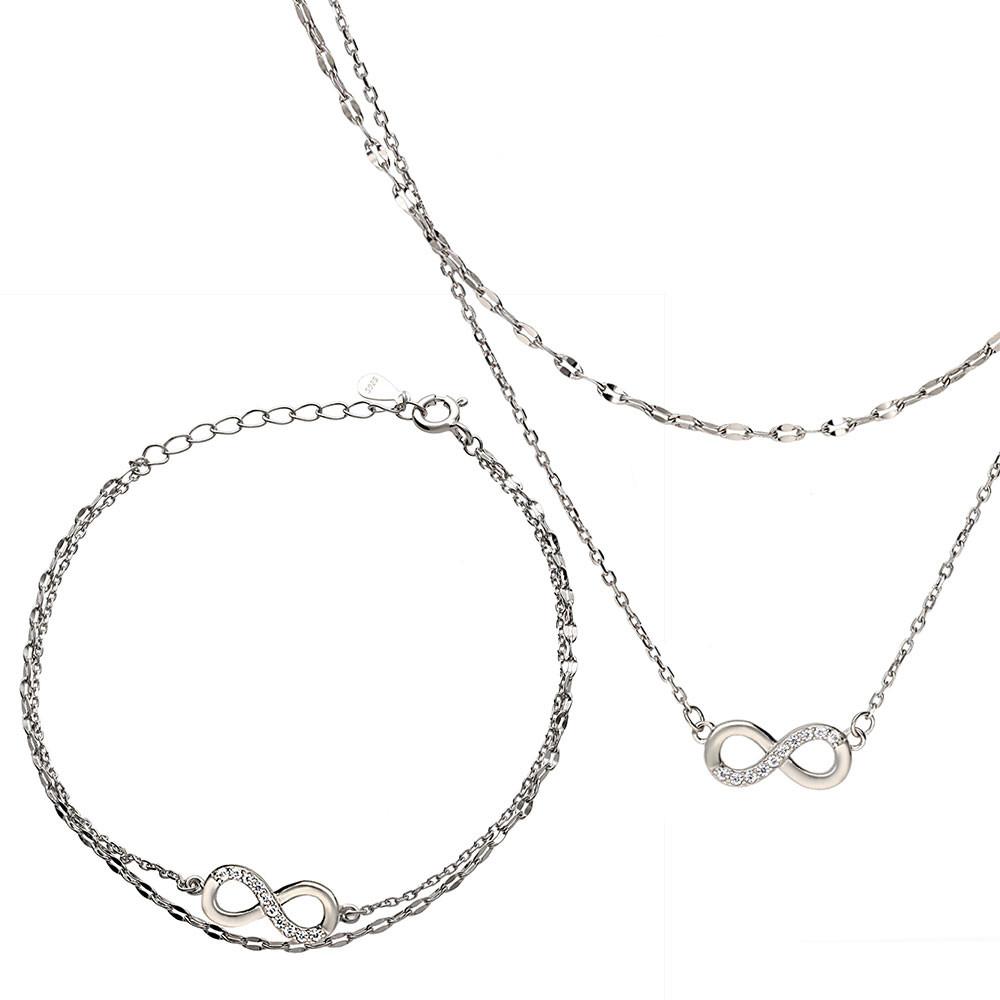 Komplet srebrny z cyrkoniami, naszyjnik i bransoletka z nieskończonością, próba 925