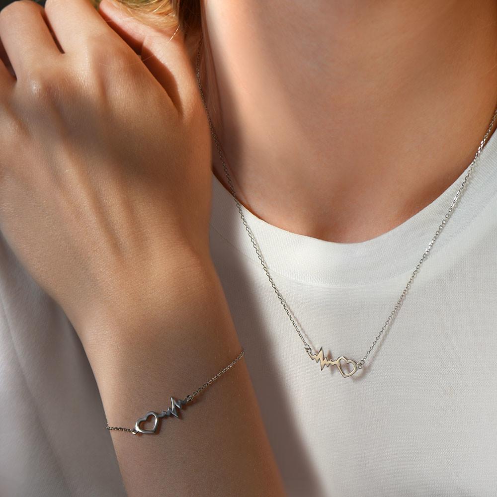 Komplet srebrny z rytmem serca, naszyjnik i bransoletka, próba 925