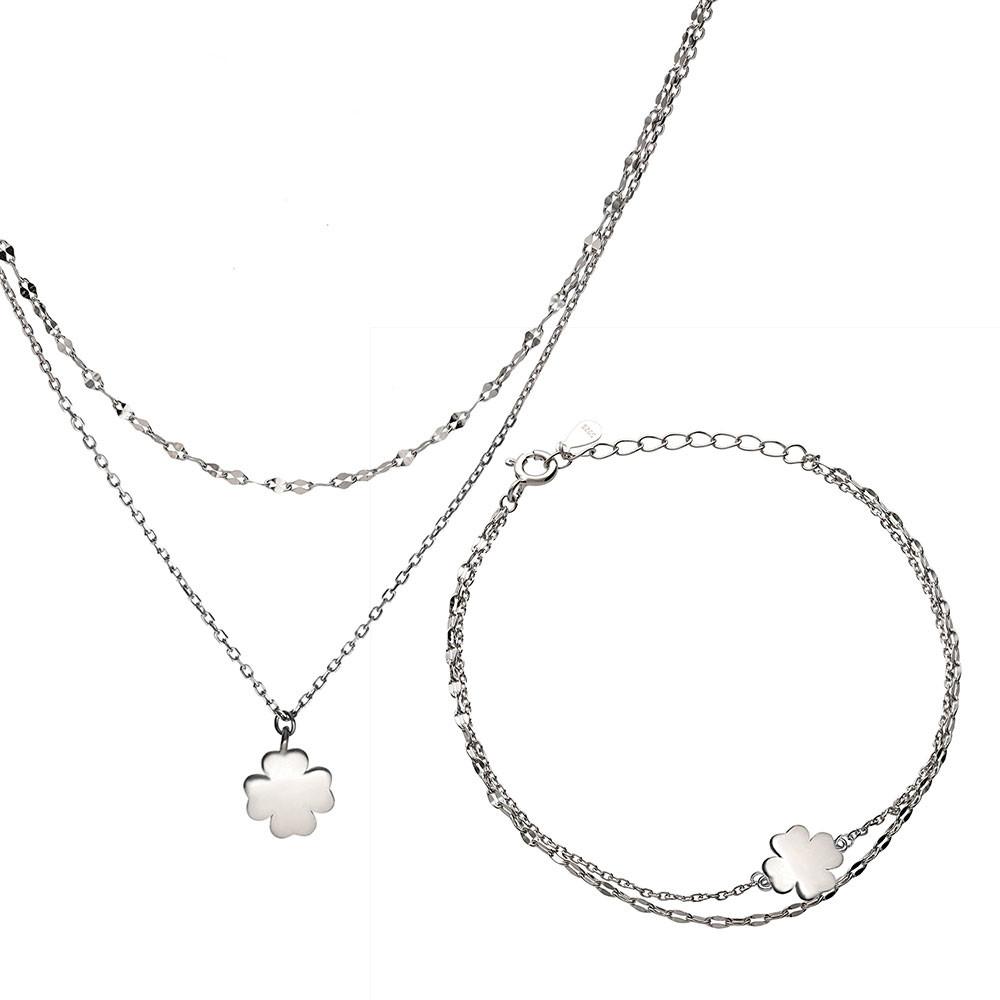 Komplet srebrny z koniczynką, podwójny naszyjnik i bransoletka, próba 925