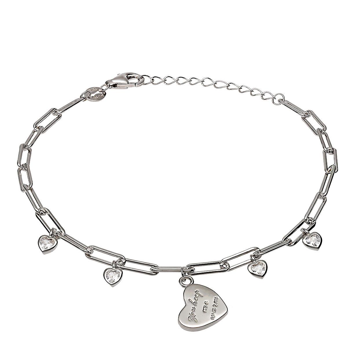 Bransoleta srebrna z zawieszkami z cyrkoniami i napisem, splot ankier, próba 925