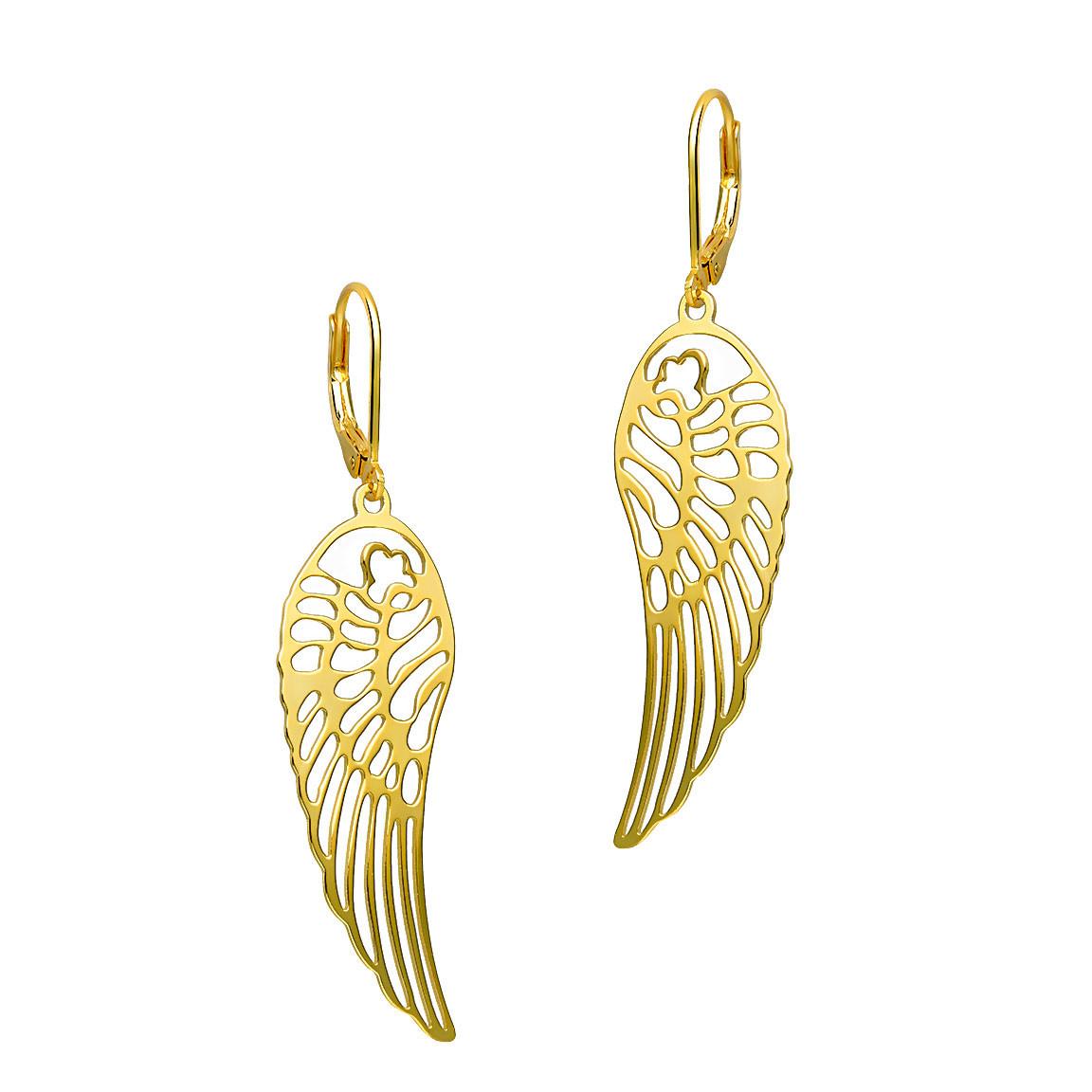 Kolczyki srebrne pozłacane skrzydła, zapięcie francuskie, próba 925