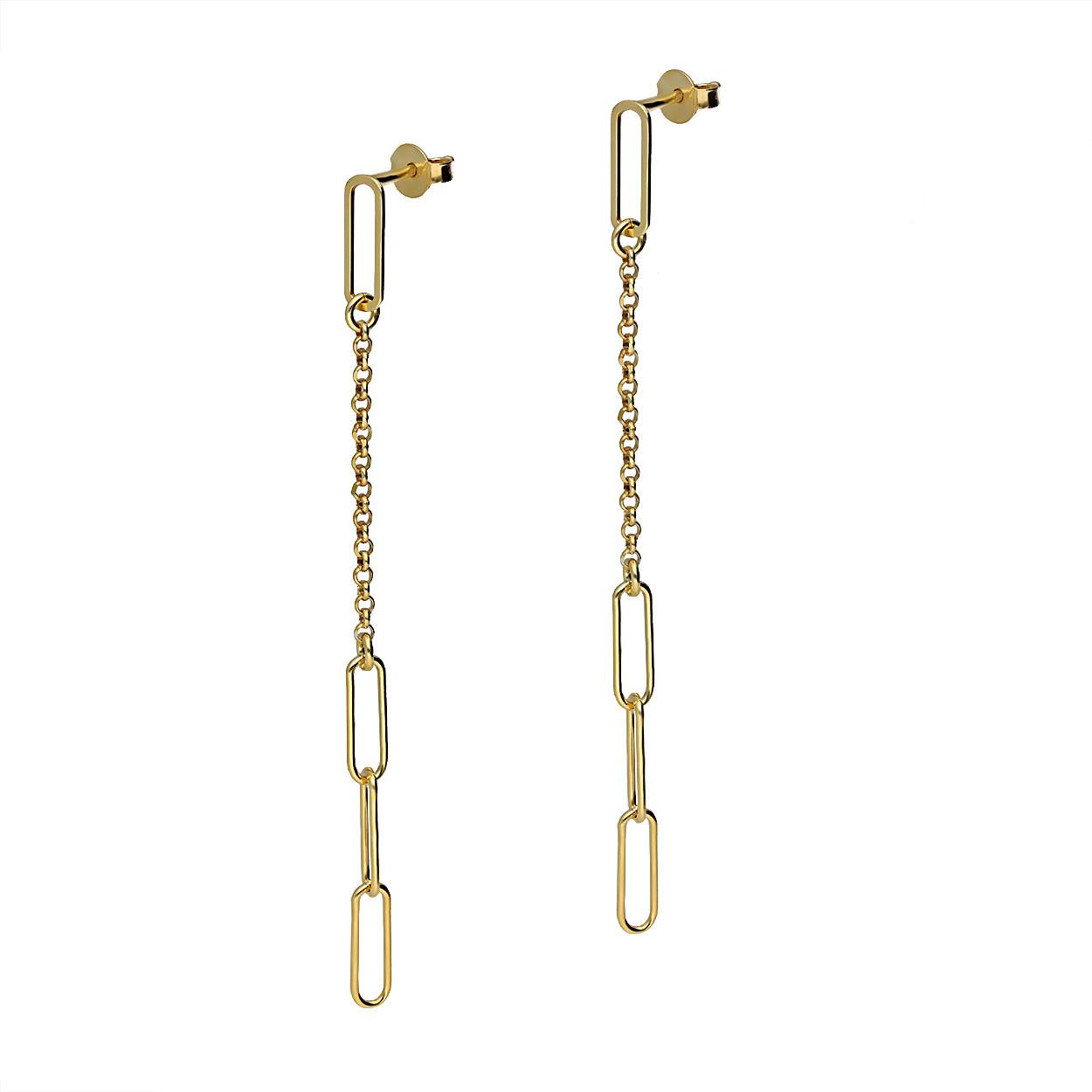 Kolczyki srebrne pozłacane, wiszące, zapięcie na sztyft, próba 925