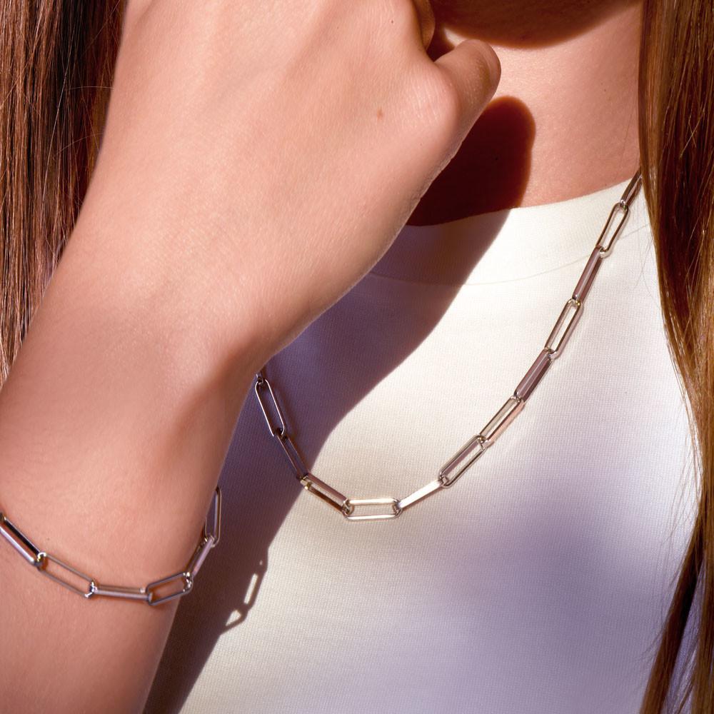 Komplet srebrny, naszyjnik i bransoleta splot ankier, próba 925