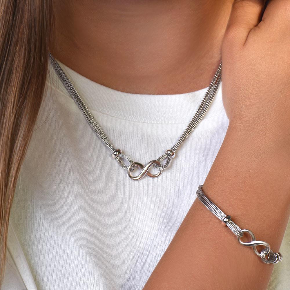 Komplet srebrny naszyjnik i bransoleta z motywem nieskończoności, regulowana długość, próba 925