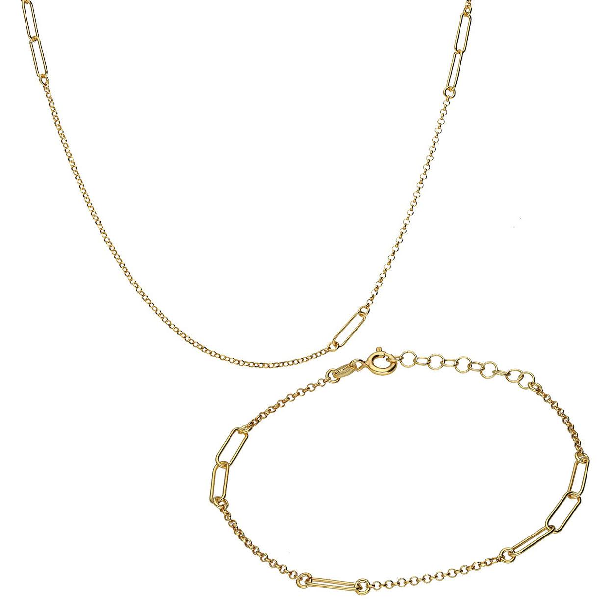 Komplet srebrny pozłacany z elementami ozdobnymi, naszyjnik i bransoleta, próba 925