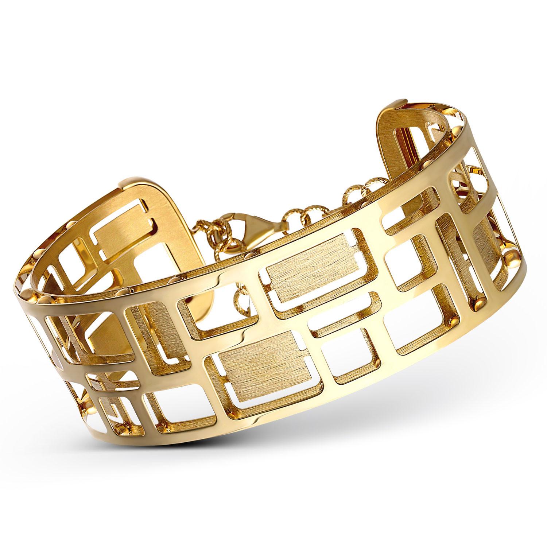 Sztywna złota bransoleta w geometryczne wzory, próba 585